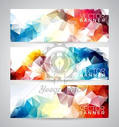 Vector geometric triangles banner background set. Abstract polygonal design. - Royalty Free Vector Illustration
