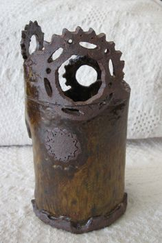 E.Sue McCoy:12 inches tall, bicycle gear pattern
