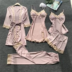 High-Grade 5 Pieces Sets Silk Pajamas Autumn Winter Pyjamas Women Satin Lace Dressing Gowns For Women Pijama Mujer Satin Pyjama Set, Satin Pajamas, Pajama Set, Pijamas Women, Cute Pajamas, Pajamas For Women, Cute Pjs For Women, Womens Pyjama Sets, Sleepwear Sets