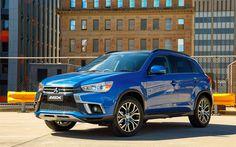 Lataa kuva Mitsubishi ASX, 4k, 2017 autot, jakosuotimet, sininen ASX, Mitsubishi