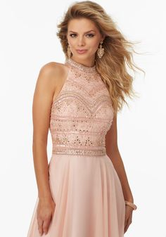 Beaded Chiffon Prom Dress with High Halter Neckline and Open Keyhole Back