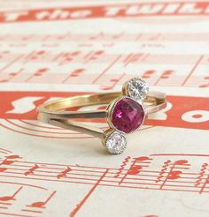 Streamlined Deco Ruby and Diamond Ring, $1,950.00