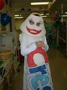 Carrie dressed as toothpaste for the   Children's Dental Health Fair lol