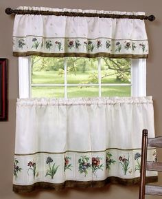 Botanical Curtains Tier Pair & Valance Set is an enchanting array of beautiful flowers will add a touch of springtime to your home with this lovely Tier & Valance set.   #Complete #Kitchen  #Sets