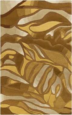 A Destinations Collection rug from designer @Malene B has an amazing fluid design in tones of gold and bronze. From Surya. (DTN-51)