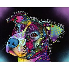 In A Perfect World Pit Bull Dog Wall Sticker Decal - Animal Pop Art by Dean Russo