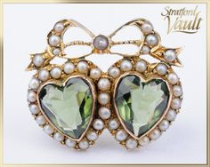 Art Nouveau Seed Pearl Heart & Bow Brooch Yellow Gold Bead Set Genuine Seed Pearls Heart Shaped Faceted Green Glass USD) by StratfordVault Heart Jewelry, Jewelry Box, Unique Jewelry, Gold Brooches, Ship Art, Beautiful Gift Boxes, Gold Beads, Antique Gold, Heart Shapes