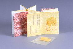 "Artist: Dora Ferrero-Melgar  Title: ""Noviembre""  Medium: litograph, silkscreen, digital print on michel paper, and Ginkgo Biloba lea  Size: 4""x2 ¾""  Location: Oviedo, Spain"