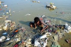 The Ganges River: Every 60 seconds, 1.1 million liters of raw sewage find their way into the 1,560-mile Ganges River, a waterway considered holy by Hindus. The river plays a significant part in the lives of locals: As children frolic in the muck, another 400 million adults earn income through the river—from clothes washers to funeral home workers who dispose human ashes in it. (Photo: AFP/Getty Images) Learn more about sanitation in India.