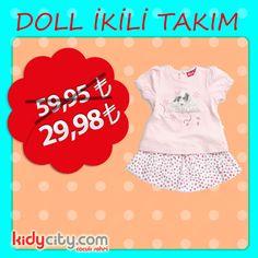 Doll Kalitesini ucuza yaşamak için mutlaka kidycity. com'a uğrayın. Doll ikili takım 59,95TL yerine 29,98 TL fiyatıyla kidycity'de!