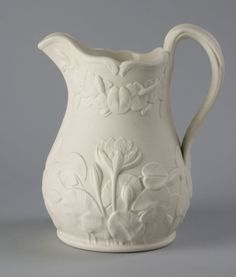 Pitcher Made by Bennington Pottery, Bennington, Vermont, c. 1843 - 1858 Geography: Made in Bennington, Vermont, United States, North and Central America Date: c. 1853-1858 Medium: Parian ware (a type of white porcelain) with relief decoration Dimensions: Height (Approximately): 8 inches (20.3 cm) Philadelphia Museum of Art - Collections Object : Pitcher