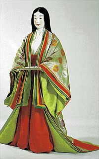 "Court lady in semiformal costumes known as ""itsutsu-ginu kouchiki"": ""kouchiki (=little cloak)"" over ""itsutsu-ginu (=robes) and ""naga-bakama (=dcivided skirt)"