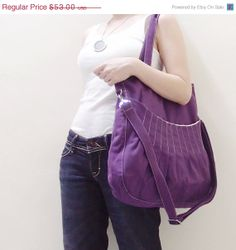 CHRISTMAS SALE Purple Canvas Women Shoulder bag, Crossbody Messenger, Tote, Diapers Bag, School bag - Kangaroo Shoulder Bag
