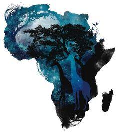 Non profit, CommonThreadz, white T-shirt, Africa design by Budi Kwan. Rasta Art, Africa Tattoos, Africa Continent, African American Artwork, Afrique Art, Lion King Art, Les Continents, Black Artwork, Arte Pop