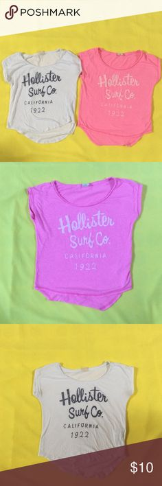Hollister t-shirts Two Hollister t-shirts size XS great condition fits like a small.. Hollister Tops Tees - Short Sleeve