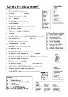 Let me introduce myself adaptar para português para preparação de apresentação individual (oralidade)