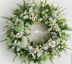 """Купить Веночек """"Нежная зелень весны"""" - зеленый, салатовый, Пасха, зелень, подарок, венок из цветов Floral Wreath, Wreaths, Green, Home Decor, Easter Activities, Floral Crown, Decoration Home, Door Wreaths, Room Decor"""