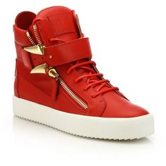 Giuseppe Zanotti Double-Zip Sharktooth High-Top Sneakers : Giuseppe... (704.400 CLP) ❤ liked on Polyvore featuring men's fashion, men's shoes, men's sneakers, apparel & accessories and red