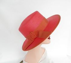Vintage boater hat  red picture hat by TheVintageHatShop on Etsy, $40.00