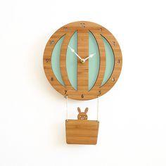 hot air balloon clock - seafoam | Decoylab -- kids room