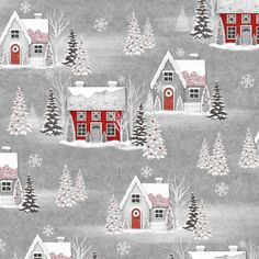 Henry Glass & Co - Holiday Homecoming - Grey Houses - - Jan Shade Beach - Christmas - Holiday - Winter - Houses - Trees - Snow Cottage Christmas, Beach Christmas, Colorful Christmas Tree, Christmas Fabric, Beautiful Christmas, Christmas Stuff, Snow Holidays, Shabby Fabrics, Grey Houses