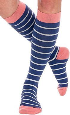 Graduated 15-25 mmHg Knee High Striped Plus Size Support Stockings LISH Skinny Stripe Wide Calf Compression Socks