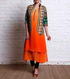 Orange Georgette Tunic With Phulkari Jacket