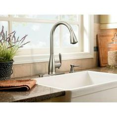 MOEN Haysfield Single-Handle Pull-Down Sprayer Kitchen Faucet in Spot Resist Stainless featuring Reflex-87877SRS at The Home Depot