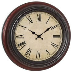 FHE Group Old World 18 Inch Wall Clock Cherry Brown Frame Cream