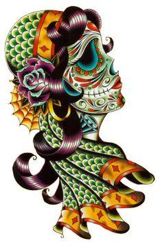 Sugar Skull Gypsy Day Of The Dead Pattern, Cross Stitch Pattern, Counted Cross Stitch, Needlepoint Pattern, Sugar Skull Cross Stitch Pattern. $4.47, via Etsy.