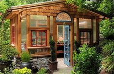"""A dream garden shed--I'd stay here for hours """"playing"""" with plants! Greenhouse Shed, Greenhouse Gardening, Greenhouse Wedding, Cheap Greenhouse, Outdoor Rooms, Outdoor Gardens, Outdoor Living, Outdoor Sheds, Dream Garden"""