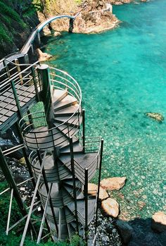 A very unusual part of the walkway, leading from the lighthouse, to Jeodong town,South Korea, along the cliffs of this rocky volcanic shore, where the terrain plunges straight down into the sea.