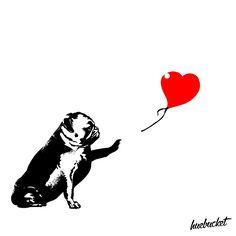 Pugsy with Heart by Huebucket