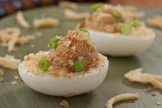 We came up with a tasty twist on an old favorite. Our easy BBQ Deviled Eggs are great as a snack, potluck appetizer, or even fancy hors d'oeuvres! Potluck Appetizers, Finger Food Appetizers, Appetizer Dips, Finger Foods, Appetizer Recipes, Snack Recipes, Cooking Recipes, Snacks, Appetizer Party