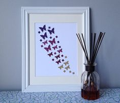 Butterfly Paper Wall Art Purple and Gold by Paper Wall Art, Gold Palette, Butterfly Art, Purple, Unique Jewelry, Frame, Handmade Gifts, Etsy, Vintage