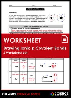 This 2-worksheet product is designed for a typical middle school / early high school unit on chemical bonds and introduces the following three skills: (1) drawing ionic bond diagrams; (2) drawing covalent bond diagrams; and (3) writing chemical formulas for the resulting compounds.How I Use This Pro... Science Chemistry, Physical Science, Ionic And Covalent Bonds, Middle School, High School, Chemical Bond, Matter Science, Chemical Reactions