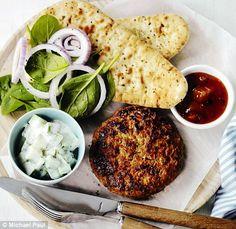 Chicken tikka burgers with naan