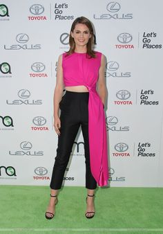 A beautiful and comfy outfit, worn by Stana Katic at the Green EMA Award