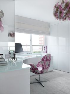 love the white + gloss + light + chair  East River Residence | Modern Declaration