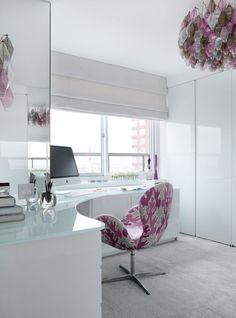 love the white + gloss + light + chair  East River Residence | Modern Declaration