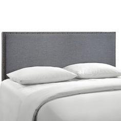 Amazon.com: LexMod Region Nailhead Upholstered Headboard, Full, Ivory: Kitchen & Dining