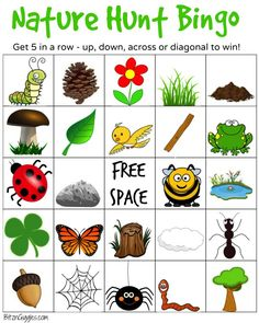 Nature Hunt Bingo - A super fun outdoor game for kids that encourages exploration of the world around them! Cutting Activities For Kids, Outdoor Games For Preschoolers, Bingo For Kids, Preschool Games, Backyard Scavenger Hunts, Scavenger Hunt Riddles, Nature Scavenger Hunts, Scavenger Hunt For Kids, Outdoor Games For Kids