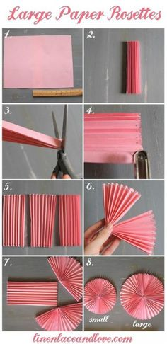 How to DIY Easy Beautiful Paper Rosettes – DIY Tutorials DIY Party decor Related DIY Basteln zum Valentinstag für Kinder - Lolly Brilliant Crafts To Make And Sell For Extra Cash. Diy Party Decorations, Paper Decorations, Diy Party Fans, Homemade Birthday Decorations, Office Birthday Decorations, Paper Wall Decor, Diy Simple, Easy Diy, Fun Diy