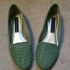 New Steve Madden Karry Suede Leather Jewel Flats NEW WITHOUT BOX Steve Madden  Karry  Jewel/Crystal and Perforated Loafer Flats Mint Green Color Tagged size 5.5 but can fit a narrow 6 (I am a 6 and they fit) Suede Leather Uppers Please ask questions and make offers Steve Madden Shoes Flats & Loafers