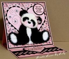 adorable  easel card with tear bear panda...too cute!!!