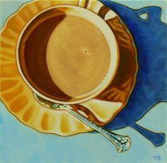 """Daily+Paintworks+-+""""Teacup+Meditation""""+-+Original+Fine+Art+for+Sale+-+©+Margaret+Horvat"""