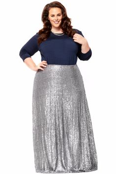 b6aa231ac8965 The Showstopper Sequin Maxi Skirt - Silver. Society Plus