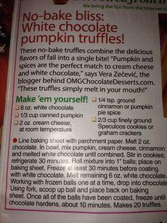 White chocolate pumpkin truffles- Women's World Magazine 11/24/14 edition