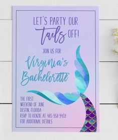 Virgina Mermaid Bachelorette Invitation, Party our Tails Off, Trading Tail for a Veil, Bachelorette Bachelorette Lingerie Party, Bridal Lingerie Shower, Bachelorette Party Planning, Bachelorette Invitations, Mermaid Invitations, Bachelorette Party Decorations, Bachelorette Weekend, Bridal Shower Invitations, Mermaid Bridal Showers