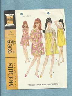 1967 McCalls 9009 Star Trek Chic Baby Doll Nightgown or Dress and Mod Robe Size 16/18 Large UNCUT